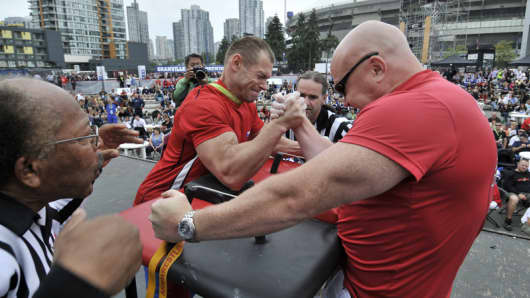 Arm wrestling at the World Police and Fire Games.